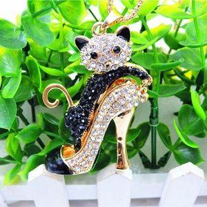 3/$18 Betsey Johnson B&W Cat High Heel Necklace